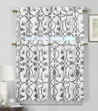 3 Piece Semi Sheer Window Curtain Set: Gray and White Botanical Design