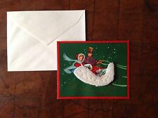 """1950s 3D Christmas Card Unused Couple In Sleigh Covered In Snow 5.25 X 4.25"""""""
