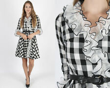 Vintage 50s Rockabilly Dress Tuxedo Ruffle Gingham Plaid Cocktail Party Mini S