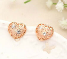 ROSE GOLD PLATED CRYSTAL HEART FILIGREE STUD EARRINGS