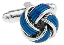 Knot Cufflinks Blue Silver Wedding Fancy Gift Box Free Ship USA