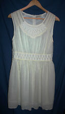 Lucky Brand Womens M Ivory Crepe Gauze Lace Trim Sleeveless Casual Dress NWT