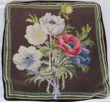 "Needlepoint Floral Pillow Cushion Cover Velvet Back Blue Brown Green 14""x14"" #1"