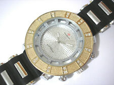 Iced Out Bling Bling Big Case Rubber Band Men's Watch with 2 Extra Bezels # 3020