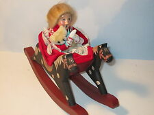 Byers Choice 1990 Victorian Blonde Girl in Wooden Rocking Horse