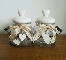 Shabby Chic Style Wire Basket Storage Jar With Heart Lid