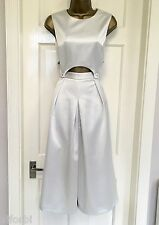 ASOS Brand New Womens Premium Silver Bonded Satin Party Jumpsuit Size 6