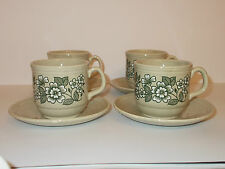 4 x Vintage Tams Beige Stone Colour Cups and Saucers with Floral Design - Lovely