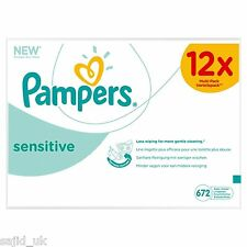 Pampers Sensitive Wipes Multi-Pack Giga 12x Packs of 56 (672 Wipes) - FREE P&P