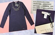 $650 Burberry Brit Deep Aubergine Studded Knit Sweater Top Large L