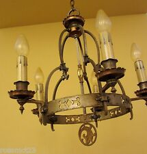Vintage Lighting striking high quality 1920s Spanish Revival chandelier