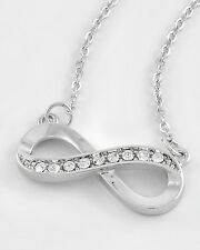Necklace, Infinity Symbol Eternity Love Forever Crystals Beautiful Gift #326-B