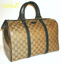 GUCCI ebony & beige Crystal JOY vinyl-coated GG Canvas BOSTON bag NWT Authentic!