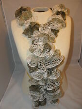 "Handmade NEW Shades Cream & Khaki  Ruffled Scarf   74"" Long"