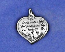 "Sterling Silver Pl Charm ""Dogs Leave Paw Prints on our Hearts"" Dog Memorial Gift"