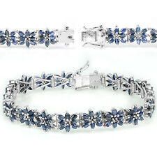 Sterling Silver 925 Genuine Natural Blue Sapphire Floral Bracelet 8 Inches