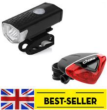 LED USB anteriore + posteriore 5 LED Luce Triangolo Set-MINI LUCI brillanti Flash Bici UK
