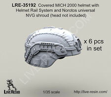 Live Resin 1/35 Covered MICH 2000 Helmet w/Rail System &Norotos NVG Shroud