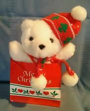 White Christmas Teddy Bear by Chosun with Red Hat & Scarf