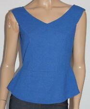 VALLEYGIRL Designer Blue Zip Back Fitted Sleeveless Top Size L BNWT #sq29