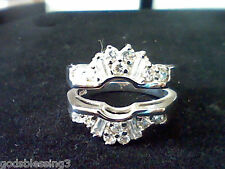 PLATINUM & SS 2.00CTW LCS DIAMOND ENGAGEMENT WEDDING RING GUARD  ENHANCER SZ 5