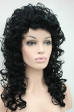 Fashion women's full wigs black curly 60cm long synthetic hair wig loose curls