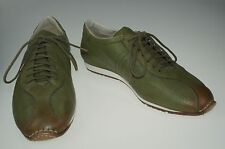 New SANTONI Green Leather Sneakers Shoes 12.5 (11.5) Handmade in Italy