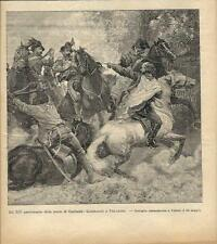 Stampa antica BATTAGLIA di VELLETRI Giuseppe Garibaldi 1896 Old antique print