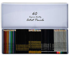 60pcs Artists Pencils Watercolour Metallic Graded Charcoal Coloured Colouring