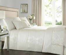 DOUBLE BED DUVET COVER SET KATHERINE IVORY NATURAL LUXURY WOVEN JACQUARD BEDDING