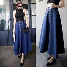 Womens Blue Jeans/Denim Button Front Empire Waist A-line Long Skirt Underdress