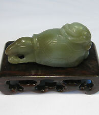 Chinese old jade carved double heads turtle statue (without stand)