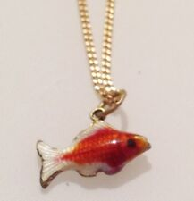PENDENTIF ANNEE 70 COLLIER POISSON EMAIL CLOISONNE ROUGE  R