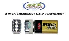 9 Volt LED Emergency Flashlight PACK OF 2 with 3 L.E.D.s Camp backpack Hunting