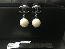 New CHANEL Black CC Logo Beige Nude Dangling Ball RARE Classic Pierced Earrings