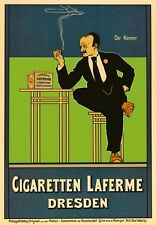 AP159 Vintage German Cigaretten Laferne Dresden Advertisement Poster Card A5
