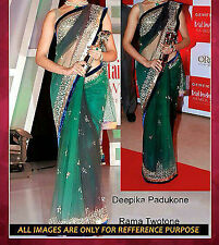 Bollywood Designer Party Wear Green color  Saree