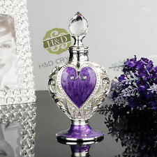 Vintage Purple Heart Empty Metal Crystal Glass Perfume Bottle Gift Refillable