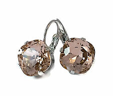 New w/Swarovski Vintage Rose Cushion Cut Crystal Large Stone Jewelry Earrings