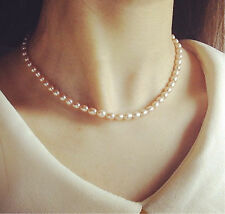 6mm Natural Rice White Ladies Elegant Akoya Cultured Glossy Pearl Necklace 17""