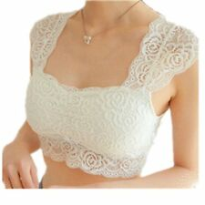 White floral lace bralette bra with removable pads