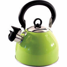 2.5L Stainless Steel Whistling Kettle Electric Gas Hob Camping Light Green