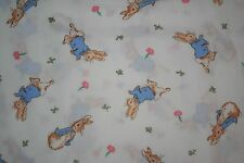 Vtg Beatrix Potter Peter Rabbit Fabric Sold By The Yard 1992 Nursery Storybook