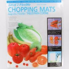 2X Flexible Chopping Mats Kitchen Plastic Fold Collapsible Chop Cutting Board