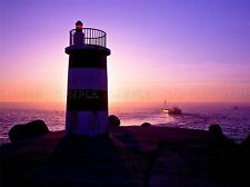 PURPLE PINK LIGHTHOUSE SEASCAPE PHOTO ART PRINT POSTER PICTURE BMP021A