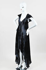 Zadig & Voltaire Black and Gray Sateen Printed High Low Dress SZ S