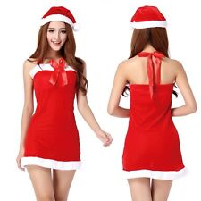 Sexy Women's Santa Claus Hat Halter Lace-up Xmas Party Funny Costume Mini Dress