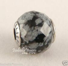 BELIEF Genuine PANDORA Silver/Snowflake Obsidian ESSENCE COLLECTION Charm~Bead