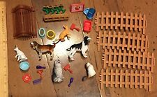 PVC Pets Dogs Cats & Accesories Lot Playset Fencing Bowls - Free Shipping