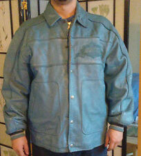 1975 AVIREX Light Blue Sports Leather Jacket -- Size XXL
